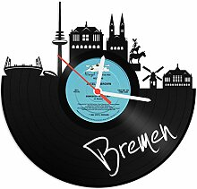 GRAVURZEILE Wanduhr aus Vinyl Schallplattenuhr