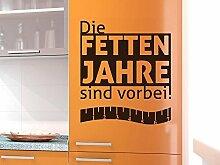 Graz Design 620497_57_070 Kühlschrank Aufkleber Wandtattoo Tattoo für Küche Die Fetten Jahre Spruch (Größe=65x57cm//Farbe=070 schwarz)