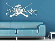 Graz Design 660164_50_070 Wandtattoo Deko für Jugendzimmer Wand Aufkleber Sticker Sport Fitness Eishockey Sportart 115x50cm Schwarz