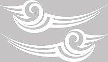 Graz Design 740235_2x28SP_010G Auto Aufkleber Seitenaufkleber Tuning Sticker Cartattoo Linien Streifen (Gre=2St. je 92x28cm//Farbe=010 weiss)