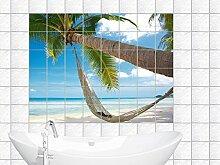 Graz Design 761006_20x25_70 Fliesenaufkleber Fliesen Dekor für Bad Küche Folie Fliesenbild Paradies auf Erde Palme mit Meerblick Fliesengröße 20x25cm (Anzahl Fliesen = 5 breit und 3 hoch)