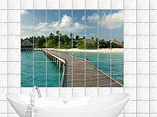 Graz Design 761014_15x15_50 Fliesenaufkleber Fliesen Dekor für Bad Küche Folie Fliesenbild Strand mit Wasserhaus Natur Fliesengröße 15x15cm (Anzahl Fliesen = 5 breit und 3 hoch)
