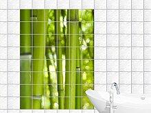Graz Design 761083_15x15_60 Fliesenaufkleber Bad Fliesenfolie Fliesendeko Fliesen Dekor Küche Bambus im Grün für Badezimmer Fliesengröße 15x15cm (Anzahl Fliesen = 4 breit und 6 hoch)