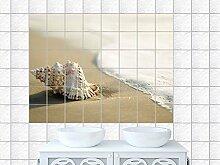 Graz Design 761328_20x25_70 Fliesenaufkleber Aufkleber für Fliesen Design Fliesensticker Fliesendekor Küche Bad Muschel im Watt Natur Fliesengröße 20x25cm (Anzahl Fliesen = 5 breit und 3 hoch)