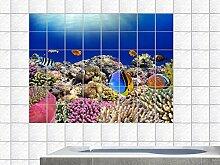Graz Design 761661_15x15_60 Fliesenaufkleber Fliesendekor Bad Küche Natur Fliesensticker Fische und Korallen in Unterwasserwelt Fliesengröße 15x15cm (Anzahl Fliesen = 6 breit und 4 hoch)