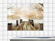 Graz Design 761681_15x15_70 Fliesenaufkleber Fliesen Dekor Bad Küche Natur Fliesensticker Bäume Steg See Ufer Badezimmer WC Bad Toilette Fliesengröße 15x15cm (Anzahl Fliesen = 7 breit und 5 hoch)