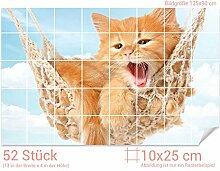 Graz Design 761712_10x25_90 Fliesenaufkleber Katze/Hängematte für Kacheln | Wand-Deko für Bad/Küchen-Fliesen (Fliesenmaß: 10x25cm (BxH)//Bild: 135x90cm (BxH))