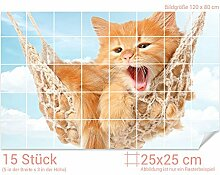 Graz Design 761712_25x25_80 Fliesenaufkleber Katze/Hängematte für Kacheln | Wand-Deko für Bad/Küchen-Fliesen (Fliesenmaß: 25x25cm (BxH)//Bild: 120x80cm (BxH))