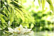 Graz Design 761724_15x15_120 Fliesen-aufkleber/Folie Bad Küche, Blume Blüte Wasser See Teich Badezimmer WC Fliesengröße, 15 x 15 cm, Anzahl Fliesen 12 breit und 8 hoch, natur