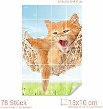 Graz Design 761790_15x10_90 Fliesenaufkleber Katze/Hängematte für Kacheln | Wand-Deko für Bad/Küchen-Fliesen (Fliesenmaß: 15x10cm (BxH)//Bild: 90x135cm (BxH))