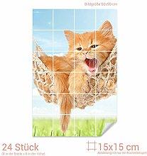 Graz Design 761790_15x15_60 Fliesenaufkleber Katze/Hängematte für Kacheln | Wand-Deko für Bad/Küchen-Fliesen (Fliesenmaß: 15x15cm (BxH)//Bild: 60x90cm (BxH))