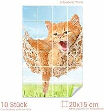 Graz Design 761790_20x15_50 Fliesenaufkleber Katze/Hängematte für Kacheln | Wand-Deko für Bad/Küchen-Fliesen (Fliesenmaß: 20x15cm (BxH)//Bild: 50x75cm (BxH))