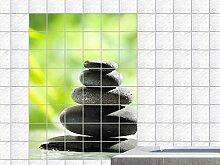 Graz Design 761818_20x25_60 Fliesenaufkleber für Küche für Bad Fliesenfolie Fliesendekor Aufkleber Natur Wasser Steine Relax Entspannung Badezimmer WC Fliesengröße 20x25cm (Anzahl Fliesen = 3 breit und 4 hoch)