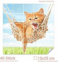 Graz Design 765344_15x25_130 Fliesenaufkleber Katze/Hängematte für Kacheln | Wand-Deko für Bad/Küchen-Fliesen (Fliesenmaß: 15x25cm (BxH)//Bild: 130x130cm (BxH))