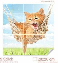 Graz Design 765344_20x20_60 Fliesenaufkleber Katze/Hängematte für Kacheln | Wand-Deko für Bad/Küchen-Fliesen (Fliesenmaß: 20x20cm (BxH)//Bild: 60x60cm (BxH))
