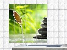 Graz Design 765371_20x20_80 Fliesenaufkleber Fliesendekor Küche Fliesenbild im Bad selbstklebend Wellness Spa Bambus Steine Wasser Fliesengröße 20x20cm (Anzahl Fliesen = 4 breit und 4 hoch)