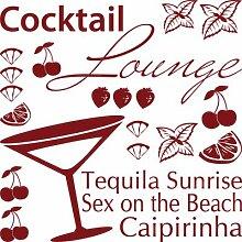 Graz Design 770074_57x57_030 Wandtattoo Set Kche Cocktail Lounge mit Glas und Frchten 57x57cm Dunkelro