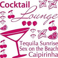 Graz Design 770074_57x57_041 Wandtattoo Set Küche Cocktail Lounge mit Glas und Früchten 57x57cm Pink