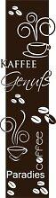 Graz Design 790004_200x57_080 Wandtattoo Türaufkleber Türbanner Küche Kaffee Tasse Bohnen Schriftzug 200x57cm Braun