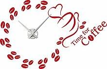 Graz Design 800022_AL_031 Wandtattoo Uhr mit Uhrwerk Wanduhr Design Time for Coffee Kaffee Kchenuhr Deko fr Kche (Uhr Silber gebrstet /Aufkleber Rot)