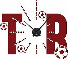 Graz Design 800050_schw_030 Wandtattoo Uhr mit Uhrwerk Wanduhr Design Sport Fuball Tor mit Fubllen Deko fr Kinderzimmer (Uhr Schwarz/Aufkleber Dunkelrot)