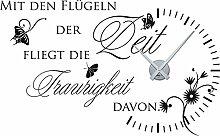 Graz Design 800065_silb_070 Wandtattoo Uhr mit Uhrwerk Wanduhr Design Zitat Mit den Flgeln der Zeit Deko fr Wohnzimmer (Uhr Silber/Aufkleber Schwarz)