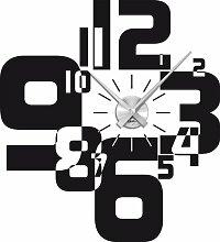 Graz Design 800066_AL_070 Wandtattoo Wanduhr moderner Zahlenmix, Wohnzimmer, Uhr silber gebürstet, Aufkleber schwarz