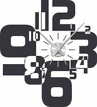 Graz Design 800066_AL_073 Wandtattoo Wanduhr moderner Zahlenmix, Wohnzimmer, Uhr silber gebürstet, Aufkleber dunkelgrau