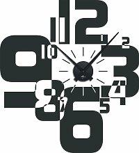 Graz Design 800066_schw_073 Wandtattoo Wanduhr moderner Zahlenmix, Wohnzimmer, Uhr schwarz, Aufkleber dunkelgrau