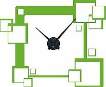 Graz Design 800075_schw_063 Wandtattoo Uhr mit Uhrwerk Wanduhr Design Retro trendige Quadrate - Cubes Deko fr Wohnzimmer (Uhr Schwarz/Aufkleber Lindgrn)