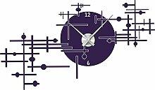 Graz Design 800154_AL_040 Wandtattoo Uhr Wanduhr modern modernes Industrie Design Deko für Wohnzimmer (Uhr Silber gebürstet/Aufkleber Violett)