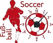Graz Design 800289_BK_031 Wandtattoo Uhr Wanduhr Sport Fuball Soccer Kinderzimmer (Uhr=Schwarz//Aufkleber=Rot)