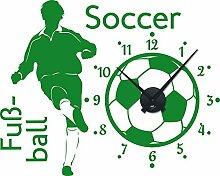 Graz Design 800289_BK_062 Wandtattoo Uhr Wanduhr Sport Fuball Soccer Kinderzimmer (Uhr=Schwarz//Aufkleber=Hellgrn)