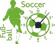Graz Design 800289_BK_063 Wandtattoo Uhr Wanduhr Sport Fußball Soccer Kinderzimmer (Uhr=Schwarz//Aufkleber=Lindgrün)