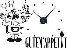 Graz Design 800314_BK_070 Wandtattoo Uhr Wanduhr Kche Spruch Guten Appetit Koch (Uhr=Schwarz//Aufkleber=Schwarz)