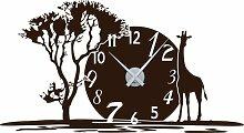 Graz Design 800350_AL_080 Wandtattoo Uhr mit Uhrwerk Wanduhr Afrika Landschaft Zahlen