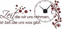 Graz Design 800391_BK_030 Wandtattoo Uhr Wanduhr mit Uhrwerk Zitat Zeit Wohnzimmer Blume (Uhr=Schwarz//Aufkleber=Dunkelrot)