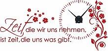 Graz Design 800391_BK_031 Wandtattoo Uhr Wanduhr mit Uhrwerk Zitat Zeit Wohnzimmer Blume (Uhr=Schwarz//Aufkleber=Rot)