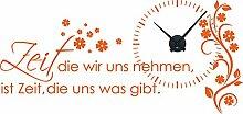 Graz Design 800391_BK_035 Wandtattoo Uhr Wanduhr mit Uhrwerk Zitat Zeit Wohnzimmer Blume (Uhr=Schwarz//Aufkleber=Pastellorange)