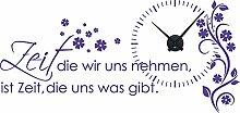Graz Design 800391_BK_043 Wandtattoo Uhr Wanduhr mit Uhrwerk Zitat Zeit Wohnzimmer Blume (Uhr=Schwarz//Aufkleber=Lavendel)