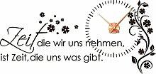 Graz Design 800391_KF_080 Wandtattoo Uhr Wanduhr mit Uhrwerk Zitat Zeit Wohnzimmer Blume (Uhr Kupfer/Aufkleber Braun)