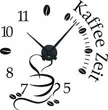Graz Design 800465_BK_070 Wandtattoo Uhr mit Uhrwerk Wanduhr Küche Kaffee Zeit Kaffeetasse Kaffeebohnen (Uhr Schwarz/Aufkleber Schwarz)