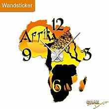 Graz Design 801014_AL Wandsticker Uhr mit Uhrwerk Wanduhr Wohnzimmer Afrika Landkarte Giraffe (Uhr=Silber gebürstet )