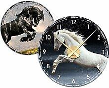 Graz Design 801023_AL Wandsticker Uhr mit Uhrwerk Wanduhr Wohnzimmer Pferde Hengst Kinderzimmer (Uhr=Silber gebrstet )