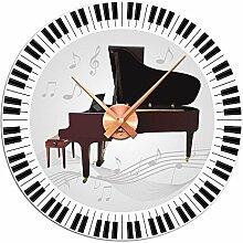 Graz Design 801089_SI Wandsticker Uhr mit Uhrwerk Wanduhr Wohnzimmer Musik Piano Noten (Uhr=Silber)