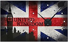 Graz Design 801110_AL Wandsticker Uhr mit Uhrwerk Wanduhr Wohnzimmer Flagge Welt England London (Uhr=Silber gebürstet )