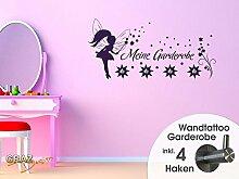 Graz Design 970061_45_043 Wandtattoo Garderobe mit 4 Haken Kinderzimmer Elfe Fee Mädchen Sterne (Größe=95x45cm//Farbe=Lavendel)