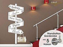 Graz Design 970161_57_010 Wandtattoo Garderobe 5 Haken Wandhaken Deko für Flur Städte Orte Wegweiser (Größe=150x57cm//Farbe=010 weiss)