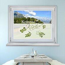 Graz Design 980070_110x57 Fensterfolie Glasdekor Aufkleber Sichtschutz Küche Kräuter Spruch (Größe=110x57cm)