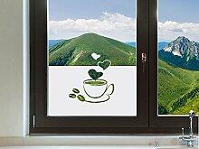 Graz Design 980122_80x57 Sichtschutzfolie Fenstertattoo Fensteraufkleber Deko für Küche Kaffee Kaffeetasse Herzen (Größe=80x57cm)